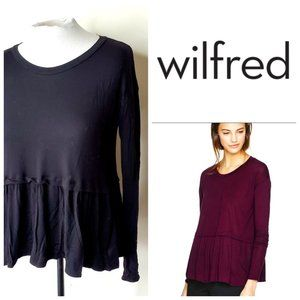 ARITZIA WILFRED Peplum Flowy Black Top
